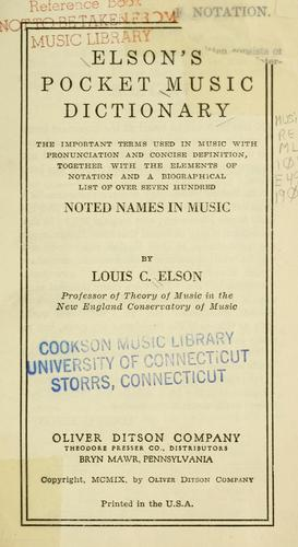 Download Elson's pocket music dictionary