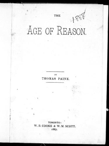 The age of reason by by Thomas Paine.