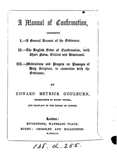 A manual of Confirmation