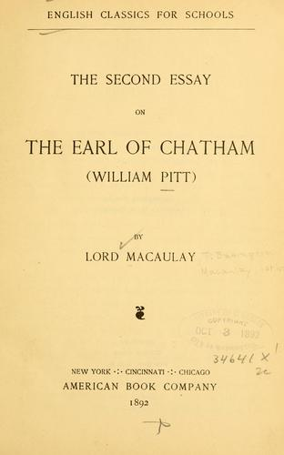 The second essay on the Earl of Chatham (William Pitt)