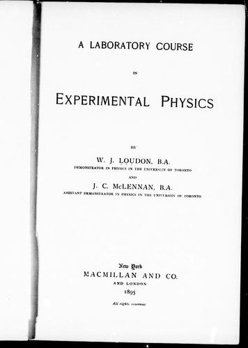 Download A laboratory course in experimental physics