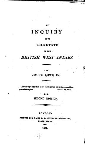 An Inquiry Into the State of the British West Indies