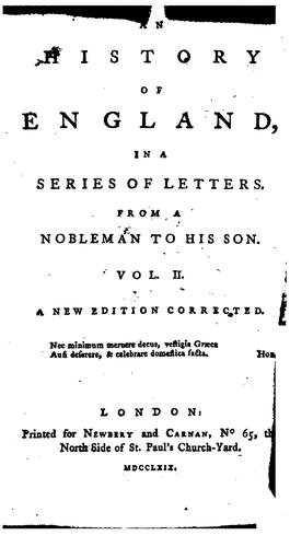 An history of England, in a series of letters from a nobleman to his son by O. Goldsmith.