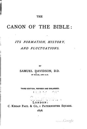 Download The Canon of the Bible: Its Formation, History, and Fluctuations