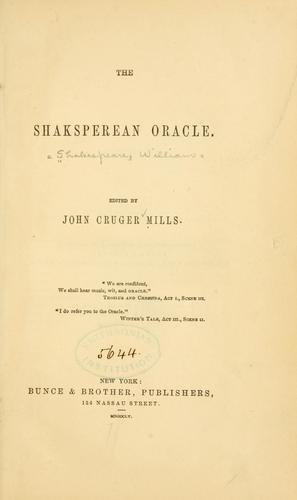 The Shakesperean oracle by William Shakespeare