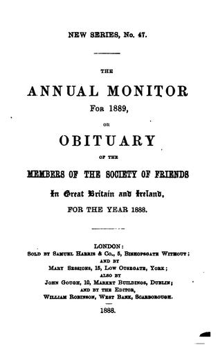 The Annual Monitor for ... , Or, Obituary of the Members of the Society of ... by Joseph Joshua Green