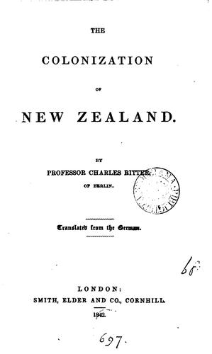 The Colonization of New Zealand by Carl Ritter